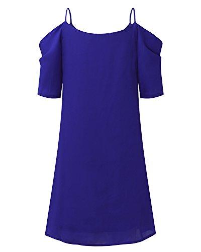 Vestito shirt Nuovo Manica Moda Ufficio Abito Blu senza Halter Spiaggia T Top Donna spalline Camicetta StyleDome Corta 5A6xqwSTT
