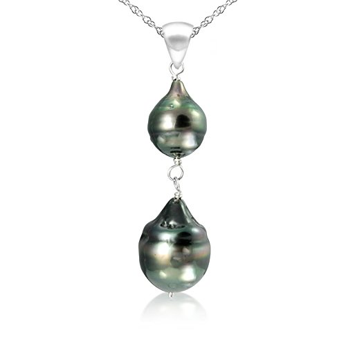 m Black Off Shape Tahitian Cultured Pearl Pendant Necklace, 18