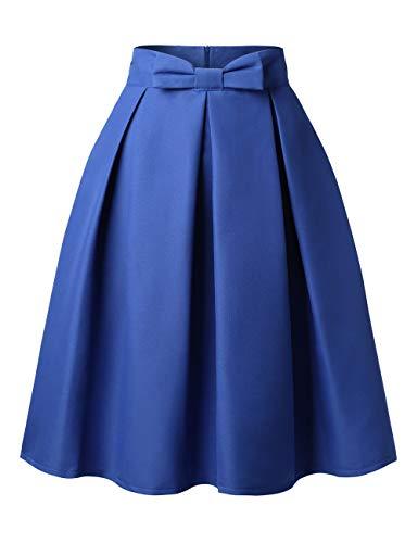 DJT FASHION Femmes Rtro Jupe Basique Taille Haute Plisse Patineuse Elastique Midi Jupe Bleu