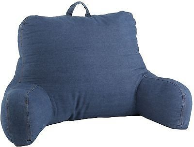 Blue Denim Bed Rest Pillow Arm Back Support Reading Watching TV Relax Lounger