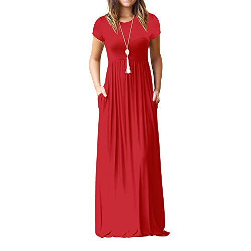 lenglangO Summer Casual Solid Short Sleeve Loose Maxi Dress with Pockets for Women Party (Red,M)