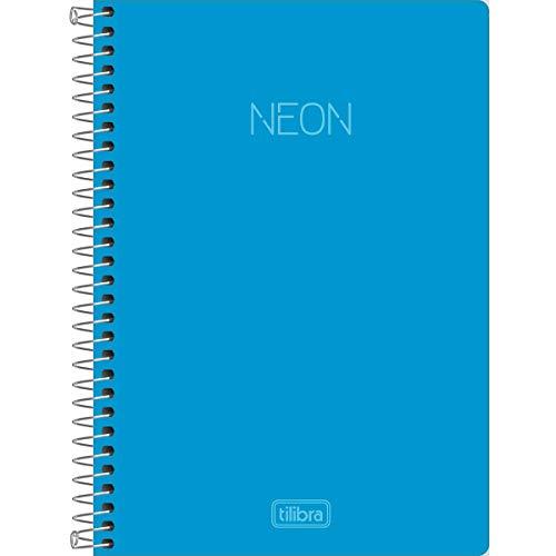 Caderno Universitário Capa Plástica, Tilibra, Neon, 302384, 160 Folhas, 10 Matérias, Azul