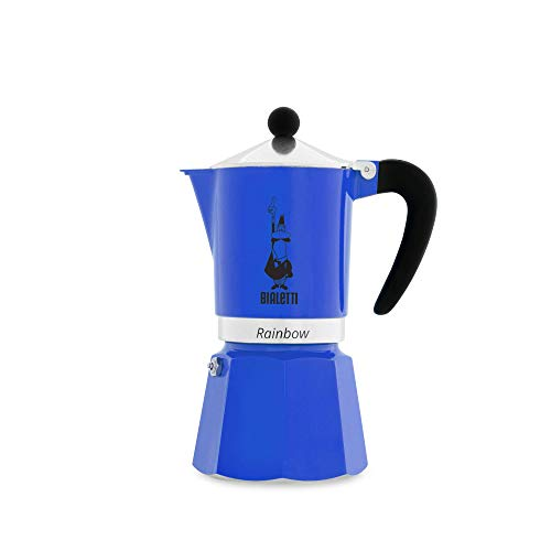 Bialetti Rainbow Cafetera Italiana Espresso, 6 Taza, Aluminio, Azul