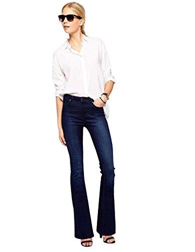 Baymate Color Puro Elasticidad Vaqueros Casual Pantalones Bootcut Para Mujer