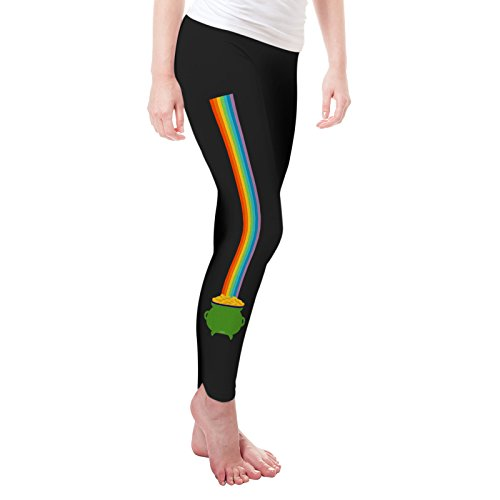 Twisted Envy Women's Pot of Gold at the End of the Rainbow Leggings X-Large Black
