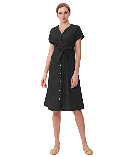 Amazhiyu Women's Linen Midi Dresses, Button Down Dress Short Sleeves with Pockets Removable Belt Casual Summer (Black, Large)