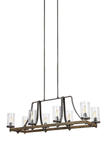 "Feiss F3136/8DWK/SGM Angelo Island Chandelier Lighting with Glass Shades, Iron, 8-Light (46""L x 17""H) 480watts from Feiss"
