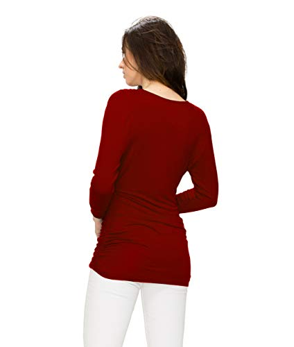 Womens 3/4 Sleeve Wrap Front Drape Top L Wine by Lock and Love (Image #4)
