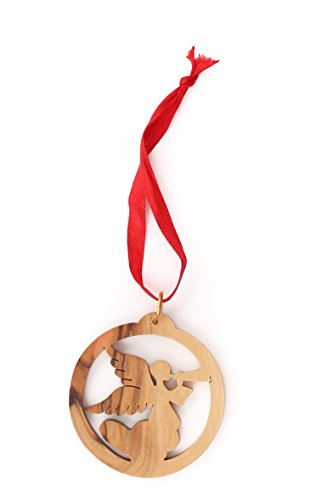 From The Earth - Olive Wood Herald Angel in Circle Christmas Ornament - Fair Trade & Handmade ()