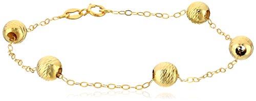 14k Yellow Gold Italian Diamond Cut 6mm Beaded Station Bracelet, 7.25
