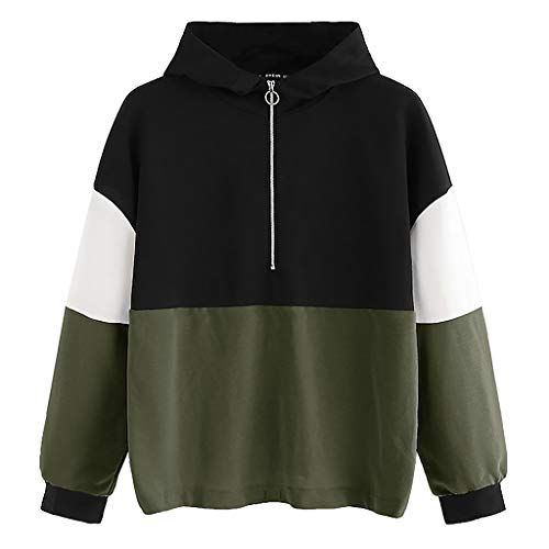 Sweat Manches Armée Capuche Tops shirt À Jumper Longues Color Zipper Block Verte ♡tefamore Femmes qtw7TXxz