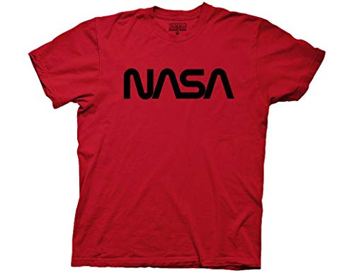 Ripple Junction NASA Adult Unisex Worm Logo Black Foil Light Weight 100% Cotton Crew T-Shirt LG Dark Red