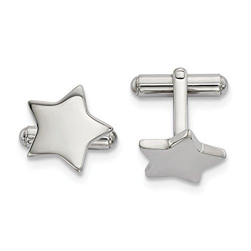 Mia Diamonds Stainless Steel Polished Star Cufflinks