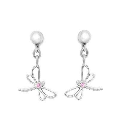 Dragonfly Sapphire Earrings (Silver Young Girl's Dangling Dragonfly Earrings With Pink Sapphire)