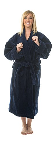 - Comfy Robes Women's Terry Velour Shawl Collar Bathrobe, L/XL Navy