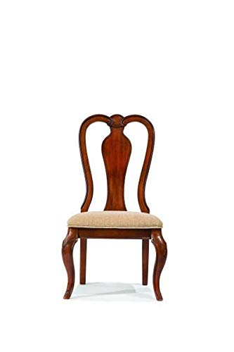 Queen Anne 2 Chairs Arm - Wood Dining Chair with Fabric Seating - Dining Chair with Queen Anne Back - Set of 2 - Rich Auburn