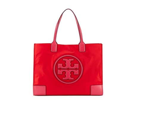 Tory Burch Ella Colorblock Nylon Logo Tote Bag, Red/Azalea, Women's ()