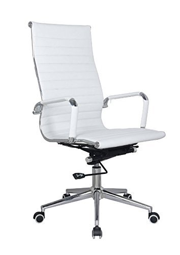 Eames Desk Chairs - White Modern Executive Classic Ribbed High Back Office Chair in Vegan Leather
