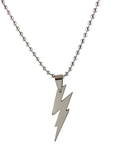 Unique Female Superhero Costume Ideas (Dastan Stainless Steel Necklace Zeus Flash Lightning Bolt Pendant on Beaded Chain- The Flash)