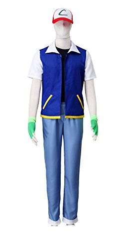 DAZCOS US Size Adult Anime Monster Trainer Cosplay Costume with Cap Gloves (Men M)