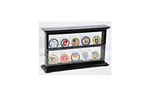 flag connections 2 Shelves Military Challenge Coin Curio Stand Rack w/UV Protection Viewing from Both Side ()