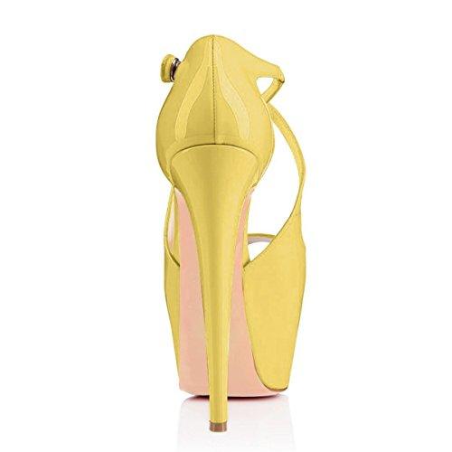Ubeauty Ladies Pumps Tacchi A Spillo Sandali Oversize Con Zeppa Glitter Con Plateau Corsetti Cinturino Alla Caviglia Scarpe Vernice Gialla