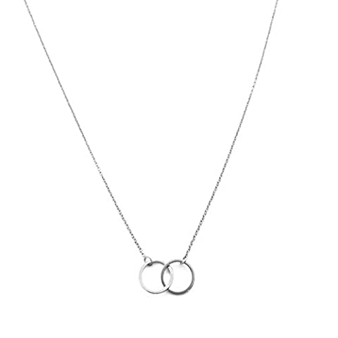 HONEYCAT Silver Mini Harmony Interlocking Circles Necklace | MadeWell, Minimalist, Delicate Jewelry - Silver Double Circle Necklace
