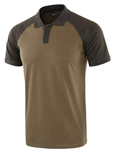 DESPLATO Men Casual Basic Active Short Raglan Sleeve Jersey Henley Polo T Shirt Army/H.Charcoal M