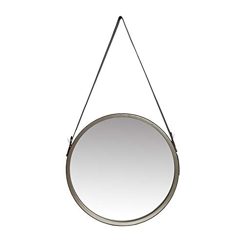 Leather Belted Farmhouse Round Hanging Wall Accent Mirror