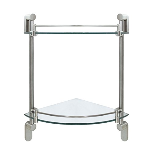MODONA Double Corner Glass Shelf with Rail - Satin Nickel - Oval Series - 5 Year Warrantee
