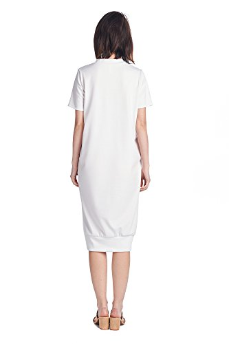 Various 82 Styles Women's Days Dresses Comfortable Mid Long Jersey White 1 ppAHqEcw