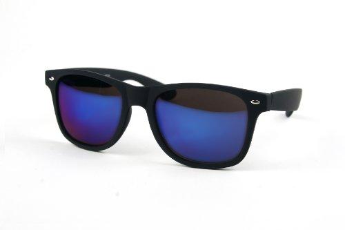 Wayfarer Rubber Coated Soft Feel Spring Hinge Sunglasses P714 (MattBlack-BlueMirror - Wayfarer Rubber