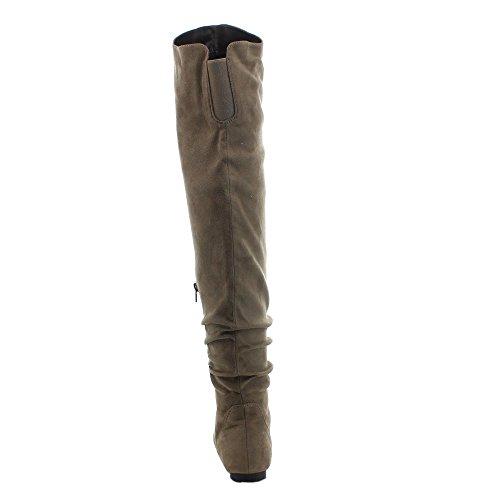 Da Viccino TOP-01-HI Frauen Slouchy Zipper Breite Kalb über die Kniehohe Stiefel Taupe