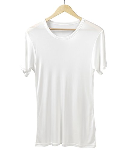 - Men's Pure Mulberry Silk Knit Crewneck T-Shirts Men Undershirts (White, XL)