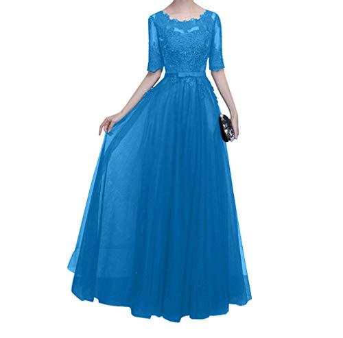 Charmant Damen Langarm mit Blau Ballkleider Hundkragen Mutterkleider Navy Abendkleider Brautmutterkleider Spitze Blau qRpq4