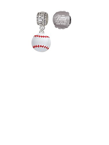 Large White Enamel Baseball Aunt Charm Bead with You Are More Loved Bead (Set of 2)