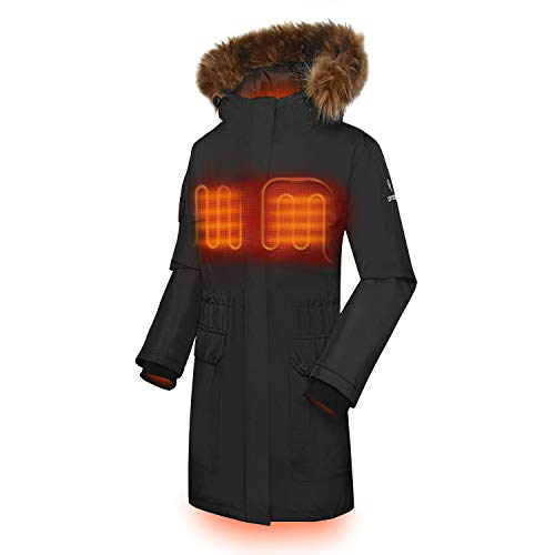 ORORO Women's Heated Parka Jacket with SMAWARM Insulation (Battery Included)(L) Black