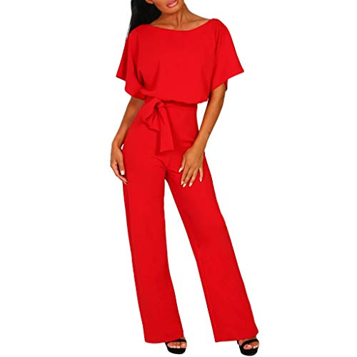 Hunauoo Sale Women's Sexy Short Sleeve Jumpsuit One Piece Straight Leg Clubwear Outfits Causal Rompers Red