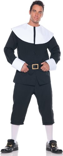 [Men's Pilgrim Costume, Black/White, One Size] (Couple Costumes Black And White)