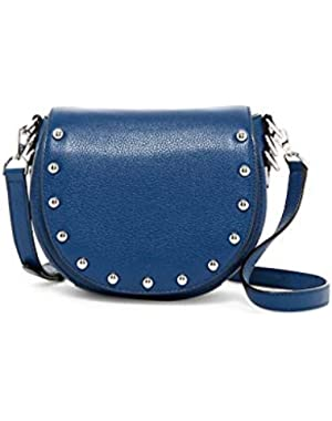Unlined Pebbled Leather Saddle Bag - Royal Navy