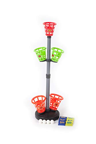 JOOLA Sport Squad Basket Bash Tower - Bean Bag Toss Game for Adults or Kids - Indoor or Outdoor Use - Throw The Included Bean Bags and Ping Pong Balls into Bucket Targets to Score Points -