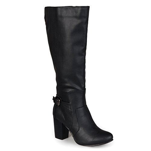 Journee Collection Womens Buckle Detail High-Heeled Boot Black, 7 Regular (Leather Calf High Boots)