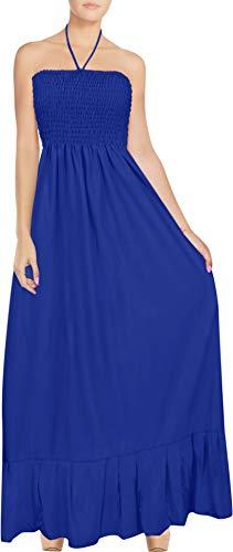 - LA LEELA Women's Casual Tube Dress Beach Dress Bandeau Blue_H817 One Size