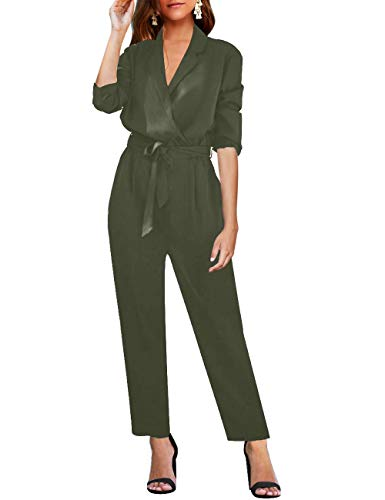 LookbookStore Women's Sexy Casual V Neck Lapel Long Sleeve Jumpsuit Solid Belted Pockets Self-Tied Playsuit Long Wide Leg Romper Pants Army Green Size Large (Fits US 12-US 14) (Belt Belted Lace)