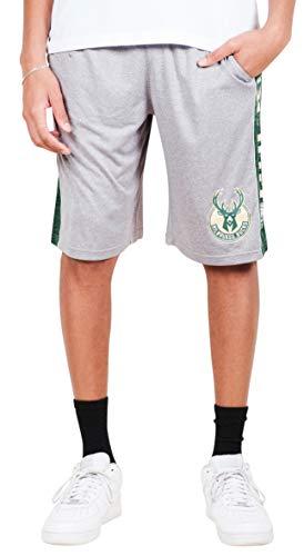 (Ultra Game NBA Milwaukee Bucks Men's Mesh Athletic Active Basketball Shorts, Heather Gray,)