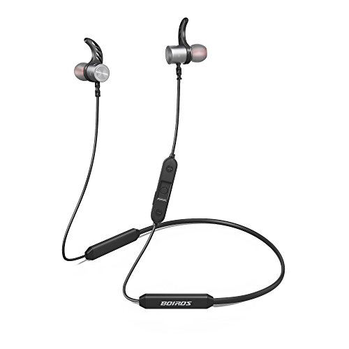 Bluetooth Headphone Sports, In-Ear Wireless Earbuds with Mic Noise Cancelling BOIROS Magnetic Earphone for Running Gym Exercising, IPX7 Sweatproof, 4.1V, Aptx, 14 Hours Play Time