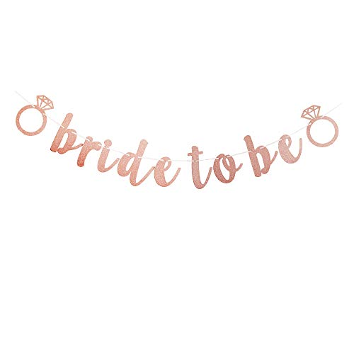 Bride to Be Banner, Rose Gold Pink Bachelorette Party Decorations, Bridal Shower Party Supplies ()
