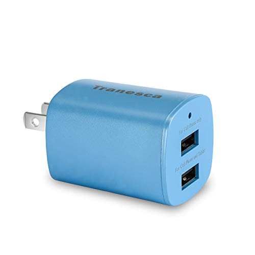 Tranesca Compatible 2.4 Amp Dual USB Port Travel Wall Charger Cube with Foldable Plug-Blue