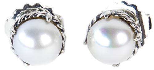 Sterling Silver Chatelaine (David Yurman Women's Sterling Silver Chatelaine Earrings 10mm Pearl)