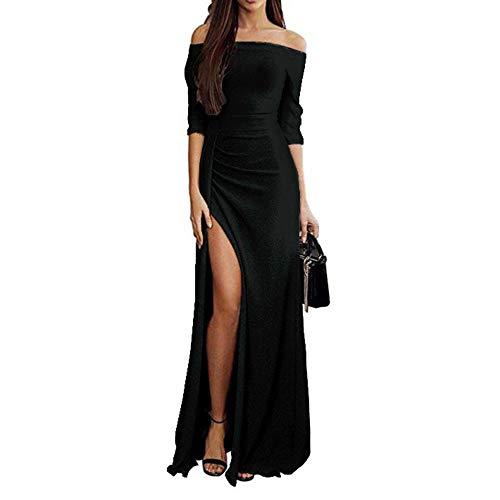(Ulanda Womens Elegant Cocktail Maxi Dress Off Shoulder Ruched Metallic Knit High Slit Evening Party Cocktail Dress)